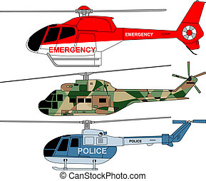 3 detailed helicopters with military, police and emergency painting