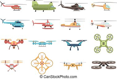 Helicopters And Drone Set - Colored icons set of military...