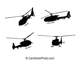 helicopters - helicopter silhouettes - vector illustration