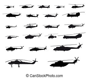 Helicopters of the world - Vector illustration of ...