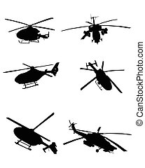Helicopters set - Vector illustration image of a six...
