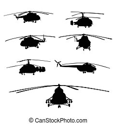 helicopters vector silhouettes