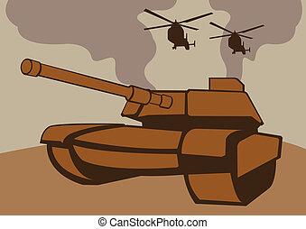 helicopters., wojna, zbiornik
