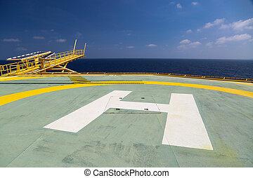 helideck, de, aceite y gas, perforación