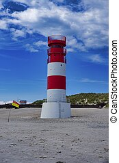 Heligoland - island Dune - Lighthouse with red and white stripes