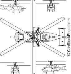 helikopter, base, gezicht