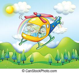 helikopter, dzieciaki