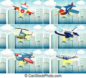 helikopter, en, vliegtuigen, vliegen, in de stad