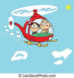 helikopter, gyerekek