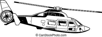 helikopter, illustratie, passagier