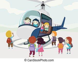 helikopter, ilustracja, stickman, dzieciaki