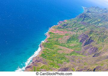 helikopter, kauai, aanzicht