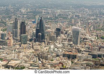 helikopter, kilátás, közül, város, közül, london., antenna, modern, láthatár
