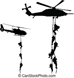 helikopter, landstigning