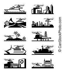 helikopter, leszállás, fennsíkok