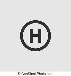 helikopter, leszállás, lakás, ikon