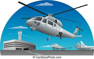 helikopter, luchthaven, vliegen