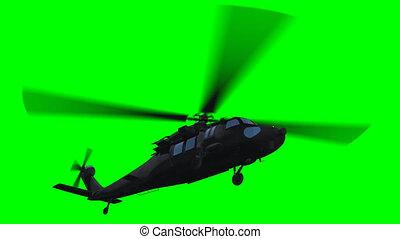 helikopter, przelotny, zielony