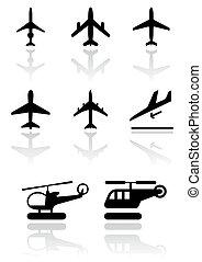 helikopter, repülőgép, symbols.