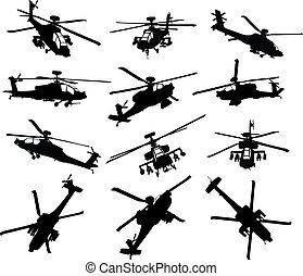 helikopter, silhouettes, sätta