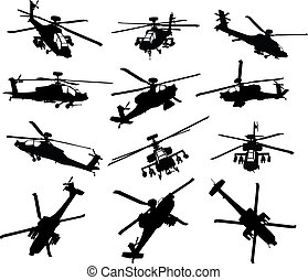 helikopter, silhouettes, set