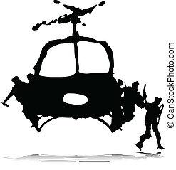 helikopter, soldaat, illustratio