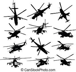 helikopter, sylwetka, komplet