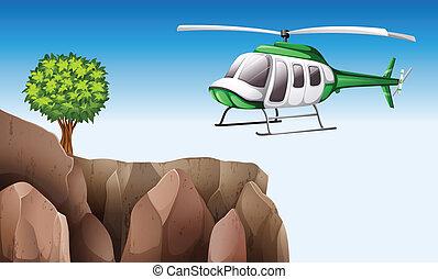 helikopter, szirt