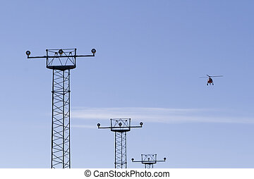 Helikopter taking off from airport