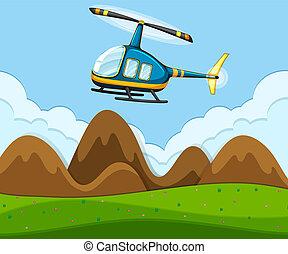 helikopter, vliegen, boven, grond
