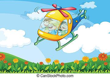 helikopter, vliegen, geitjes