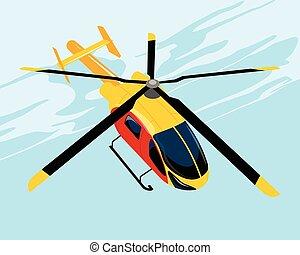 helikopter, vliegen, gele