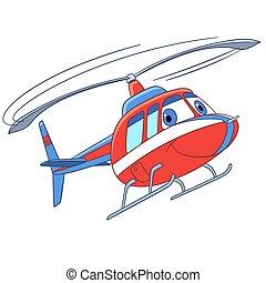 helikopter, vliegen, spotprent