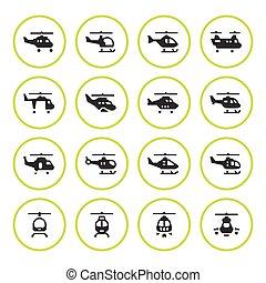 helikopterek, állhatatos, kerek, ikonok