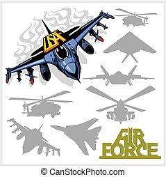 helikopterek, erőltet, -, levegő, körvonal, gyalul