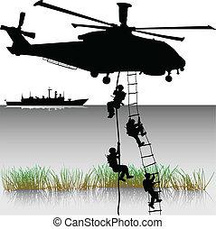 helikopterek, leszállás