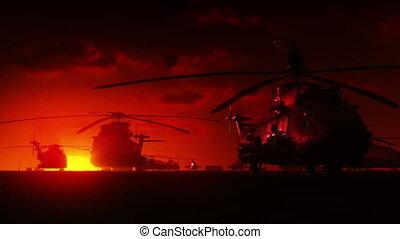 helikopters, op, zonopkomst