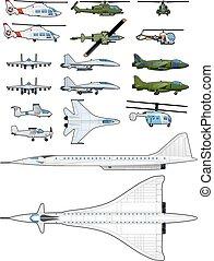 helikopters, set, vliegtuigen