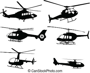 helikopters, silhouettes