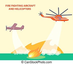 helikopters, vliegtuig, poster, tekst