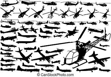 helikopters, vliegtuigen, (vector)