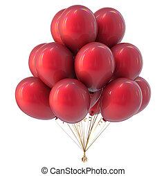 helio, globos, ramo, rojo, colorido