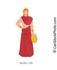 Helios or Sol - Olympian god or deity of Sun in Greek and Roman religion and mythology. Male character wearing radiant solar crown isolated on white background. Flat cartoon vector illustration