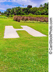 Helipad on grass in Seyshelles
