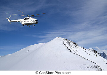 Heliski in snowy mountains