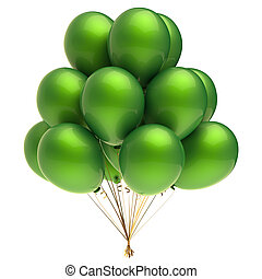 Helium balloon bunch colorful green party balloons decoration