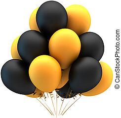 Helium balloons black and yellow