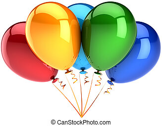 Helium balloons five multicolor
