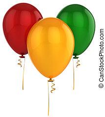 Helium balloons (Hi-Res) - Three shiny colorful (yellow,...