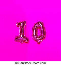 helium, congratulation., roze, balloon, tien, achtergrond., getal
